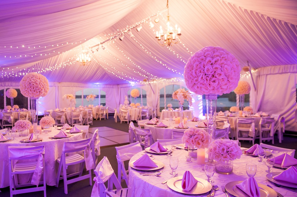 Purple Wedding Reception with Draping and Uplighting