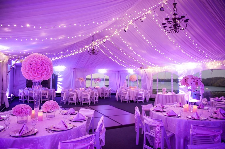 Purple Wedding Reception With D And Uplighting