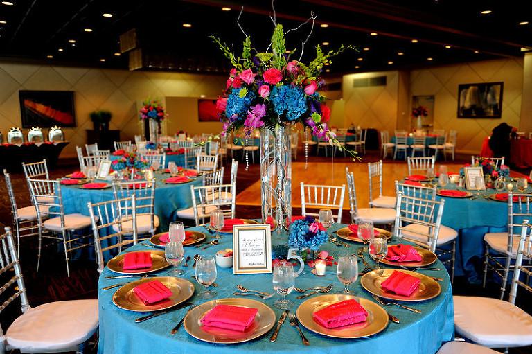 Turquoise Fuchsia Wedding: Turquoise + Fuchsia Downtown Tampa Wedding At The Straz Center