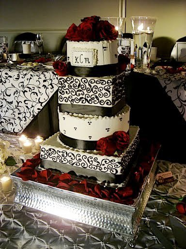 Red Black And White Damask Wedding Cakes