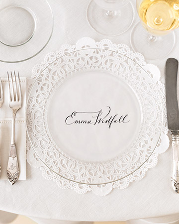 DIY Wedding Place Cards & Menus - Doily Charger - Marry Me Tampa Bay ...