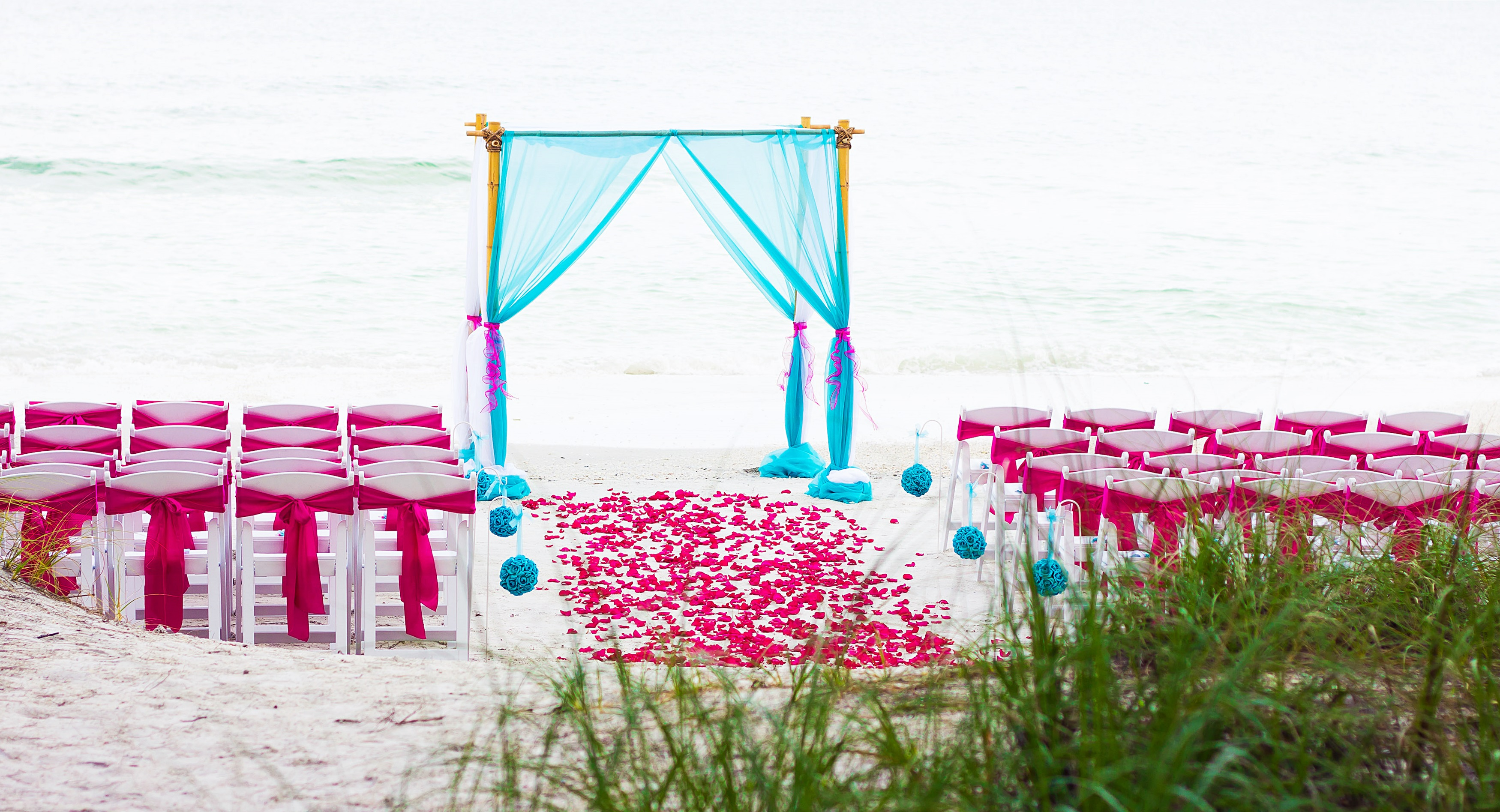 teal fuchsia treasure island beach destination wedding marry me tampa bay local real wedding inspiration vendor recommendation reviews
