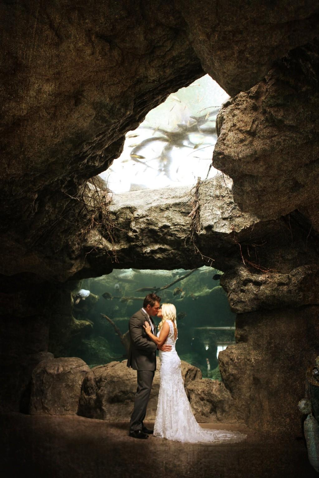 Pink & Grey Modern Florida Aquarium Destination Wedding