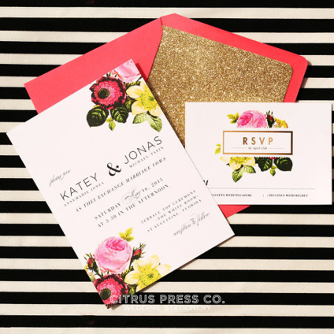 Floral/Spring Wedding Invitation - Tampa Wedding Invitations - Citrus Press