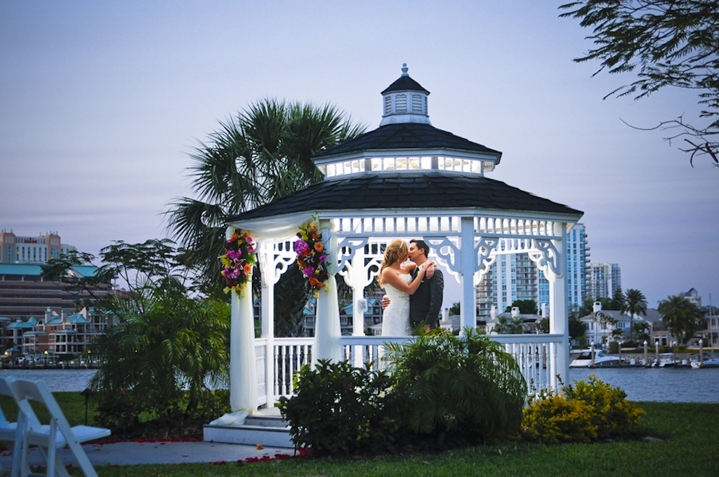 Red Tropical Waterfront Tampa Wedding Davis Islands
