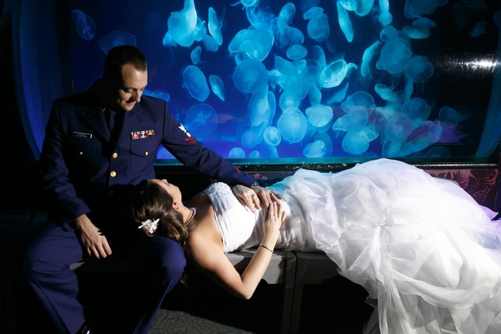 coral pink and navy blue nautical chic florida aquarium wedding