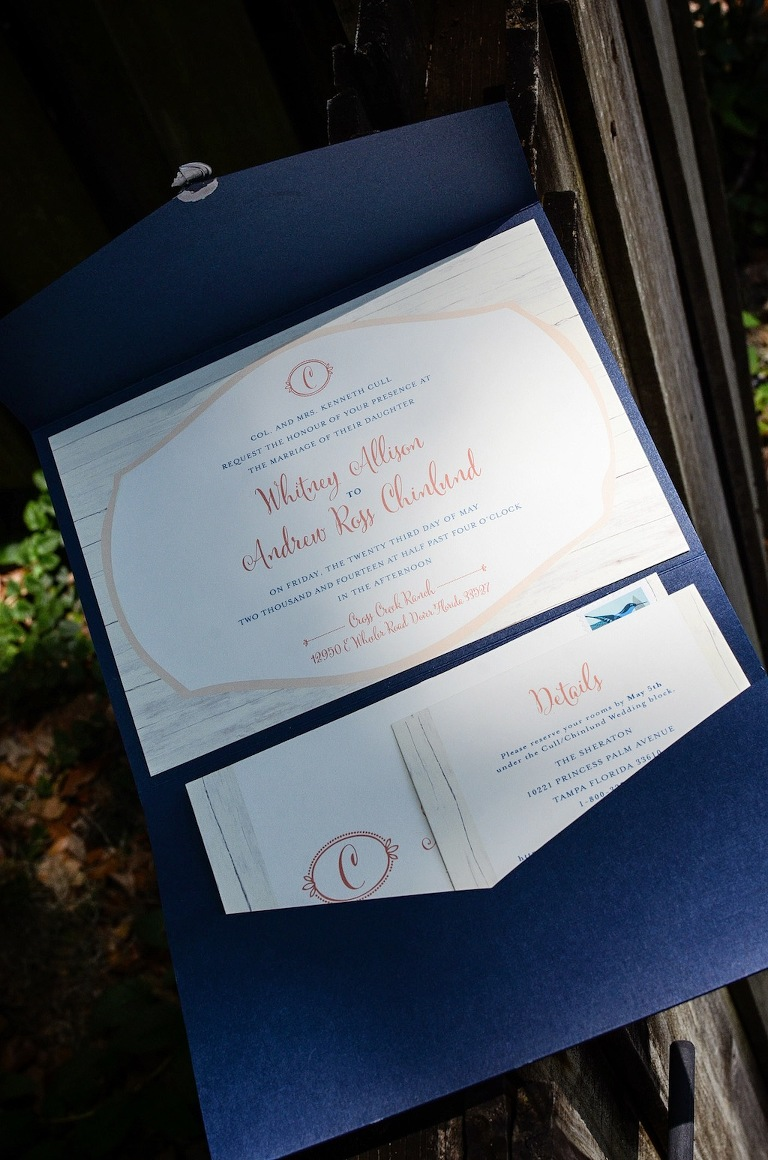 Navy Blue and Coral Wedding Inivitations