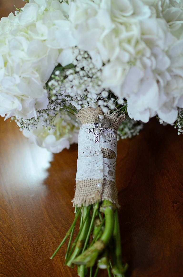 White Wedding Bouquet with Burlap Lace Wrap