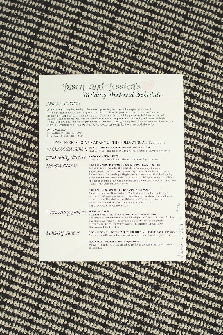 Wedding Schedule and Itinerary