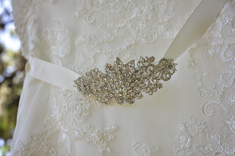 Jeweled Bling Rhinestone Lace Wedding Dress Belt - David's Bridal