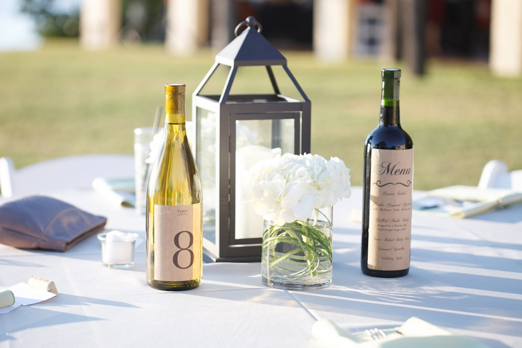 Wine Bottle Table Numbers and Menu