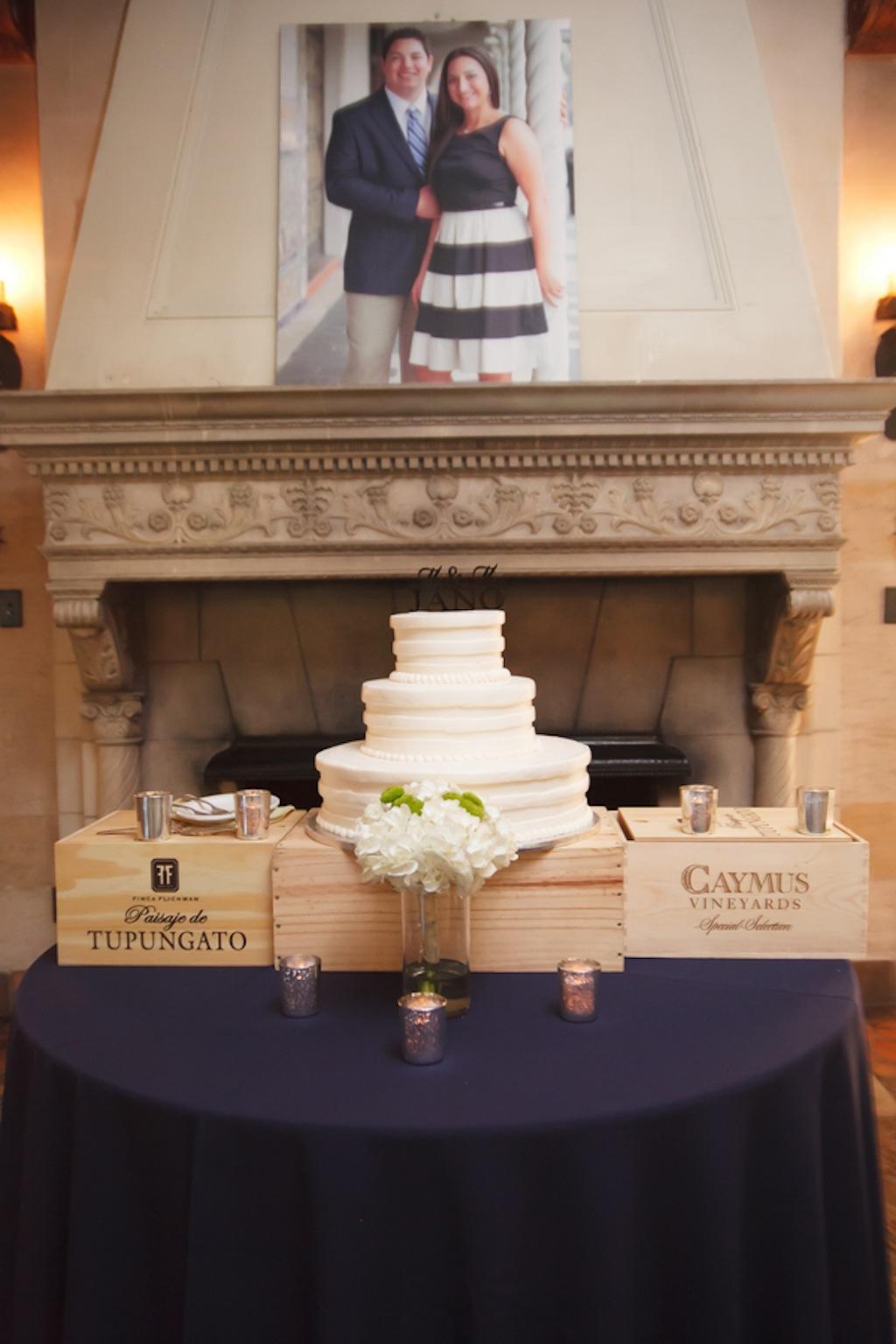 Round, White 3-Tiered Wedding Cake