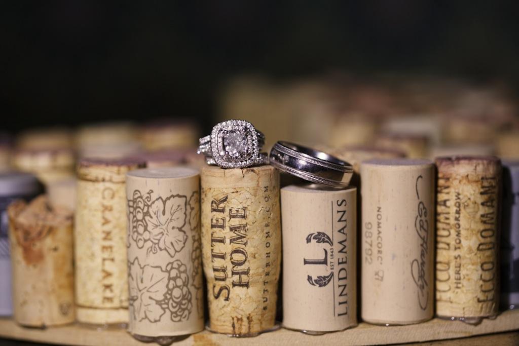 Wedding Rings on Wine Corks