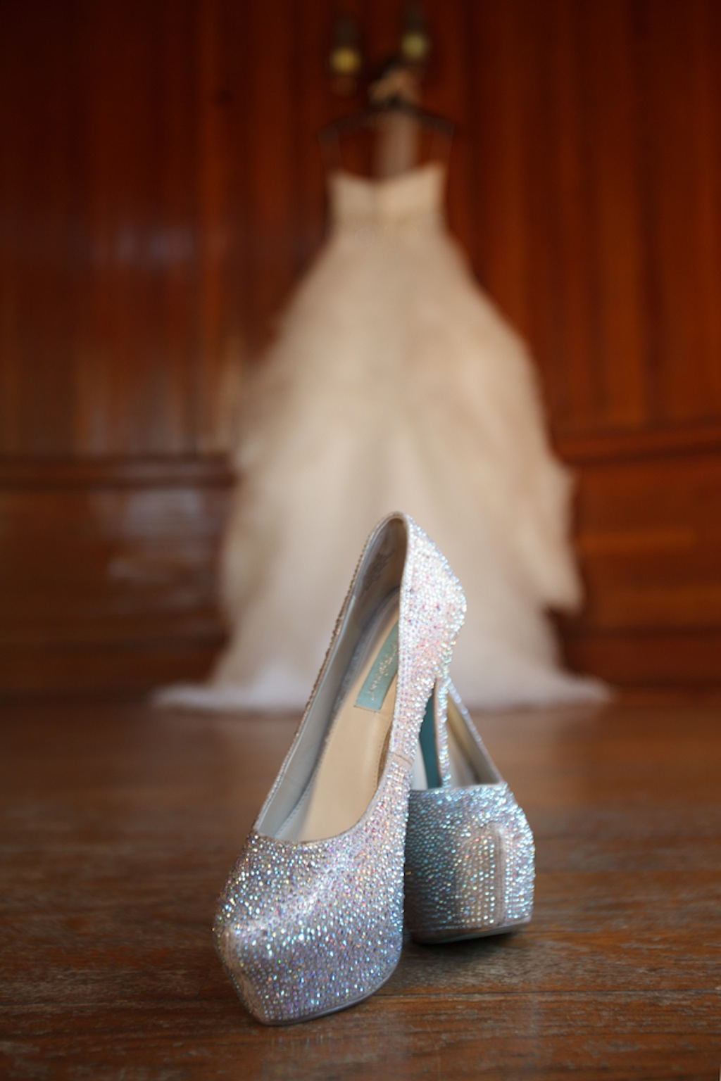 Justin Alexander Wedding Dress with Rhinestone Belt and Silver Bling Wedding Shoes