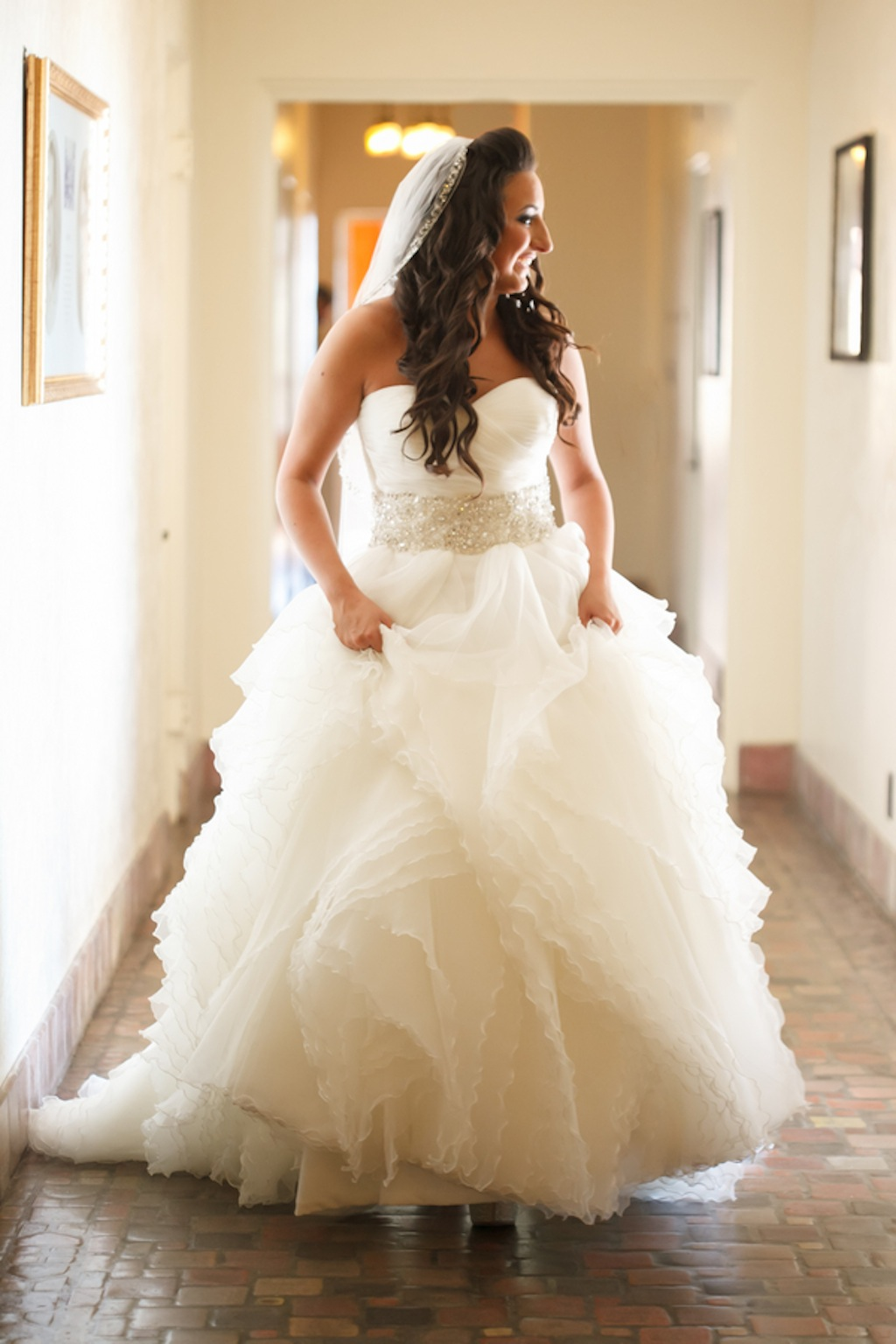 Justin Alexander Wedding Dress with Rhinestone Belt
