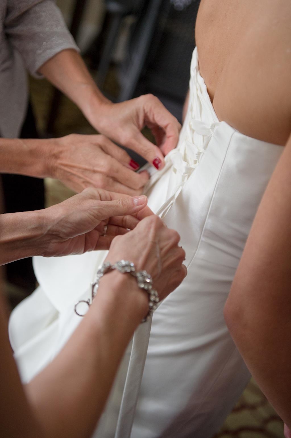 Lace Up, Tie Back Wedding Dress