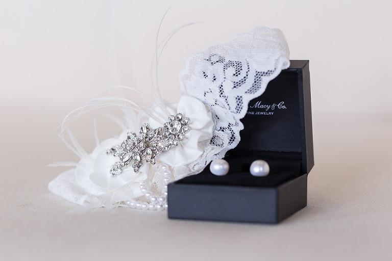 Wedding Jewlery Pearl Earrings and Lace Garter