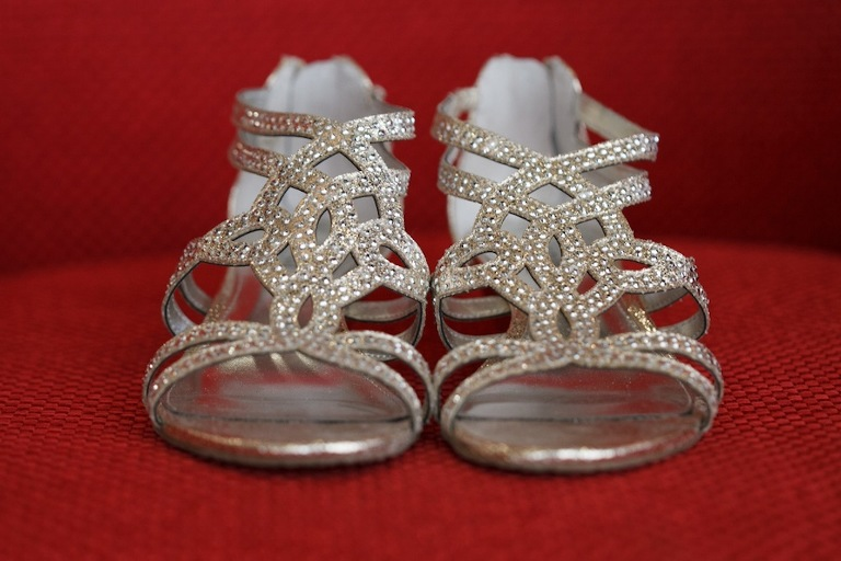 Silver Rhinestone Bling Wedding Shoes