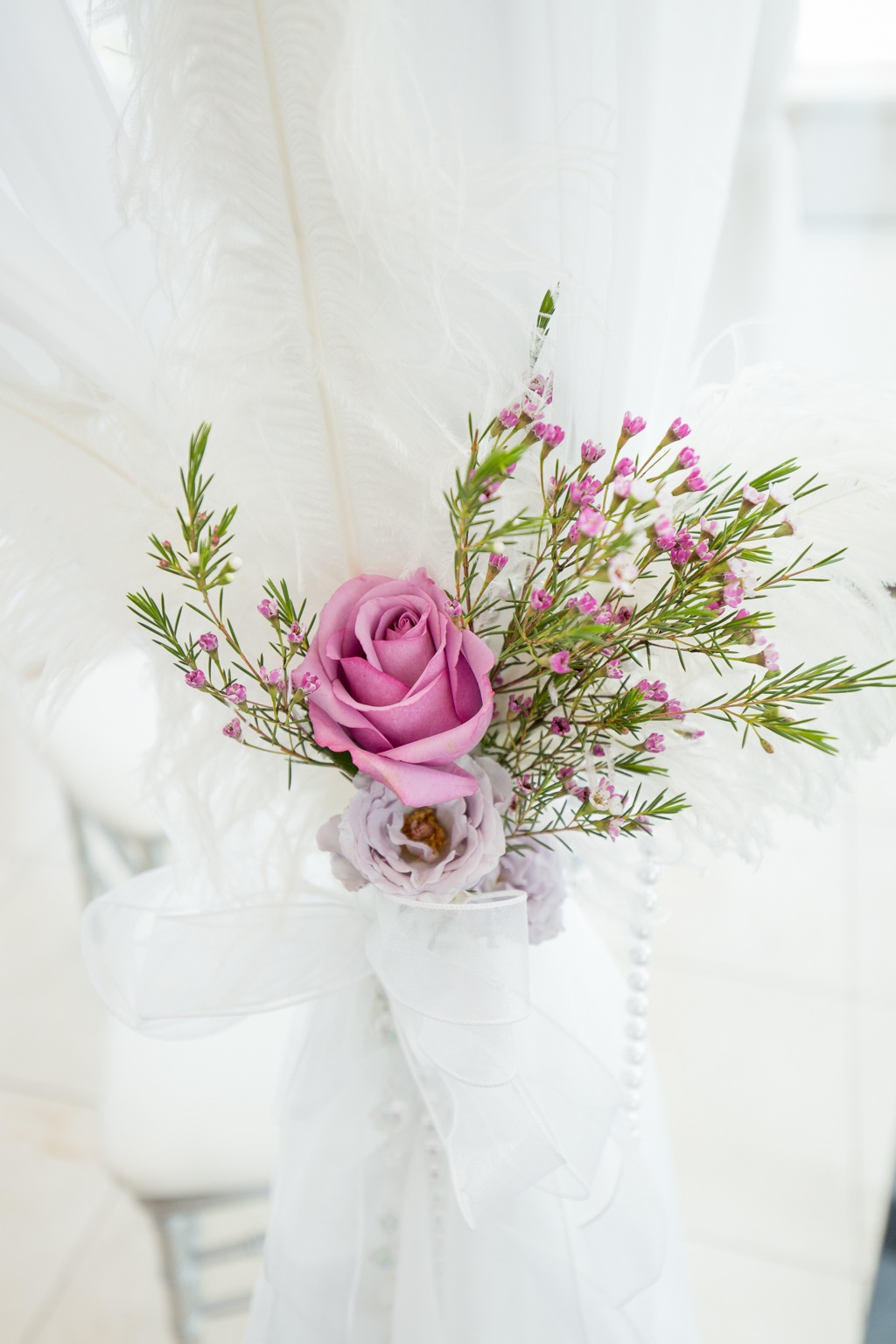 Pastel Purple and Pink Wedding Ceremony Flowers & Decor