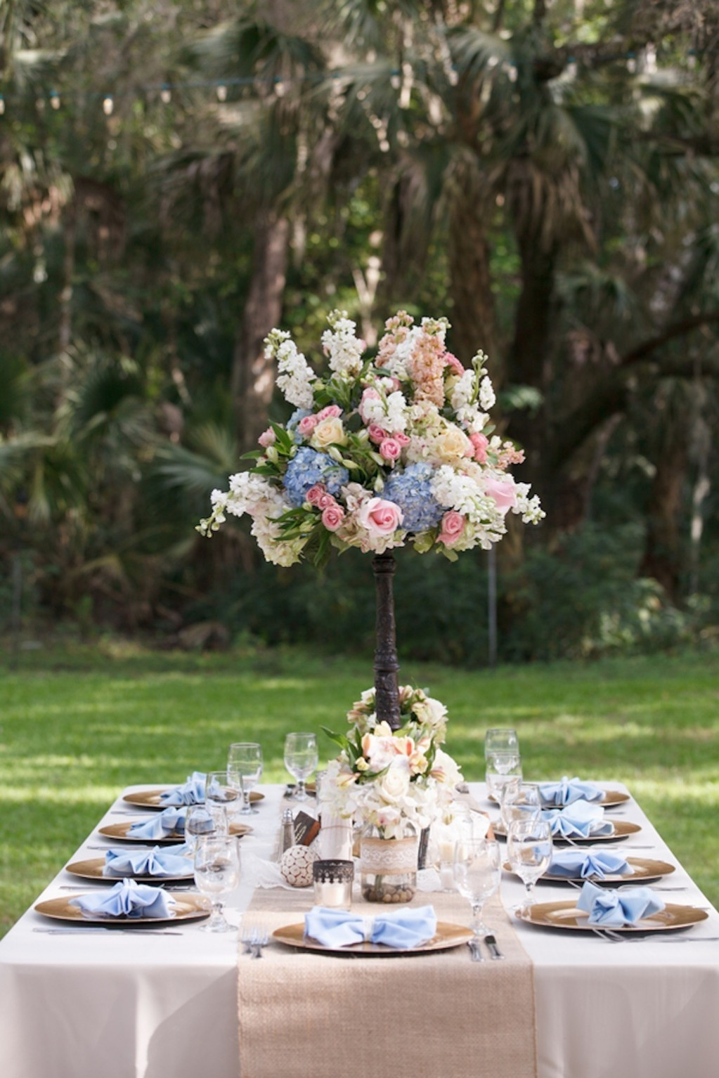 Light Blue Vintage Lace and Tall Wedding Centerpieces