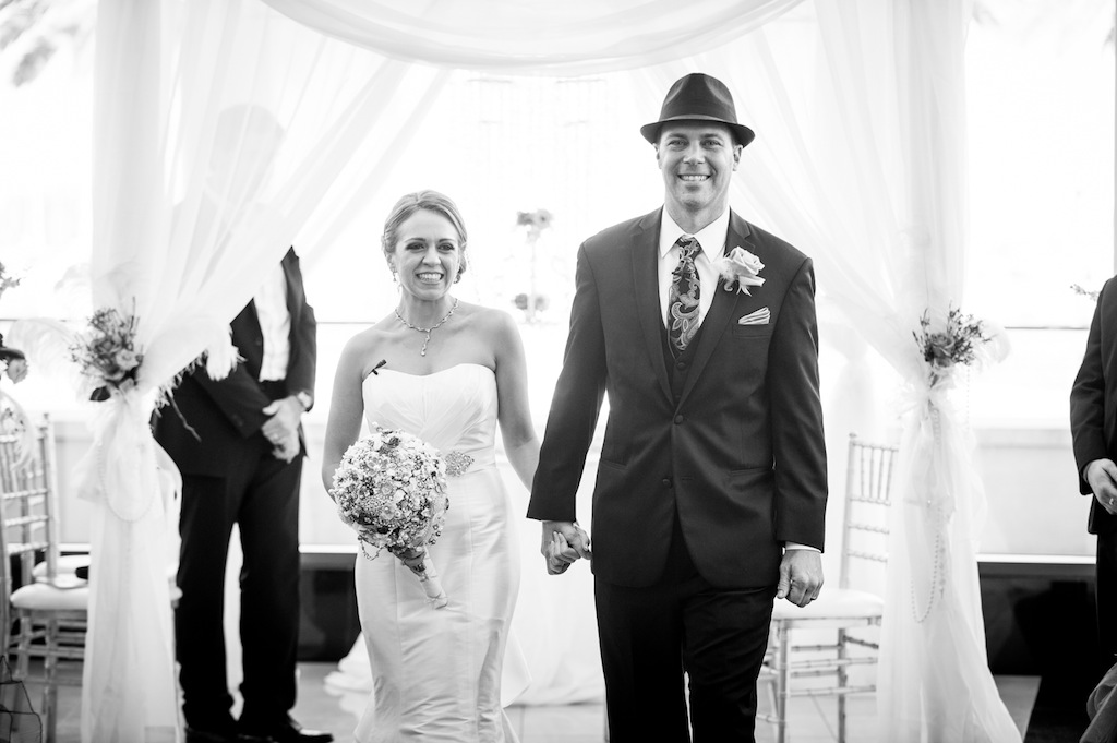 Bride and Groom First Walk Down the Aisle