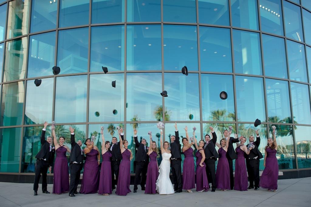 Mahaffey Theatre Wedding with Purple Bridesmaid Dresses