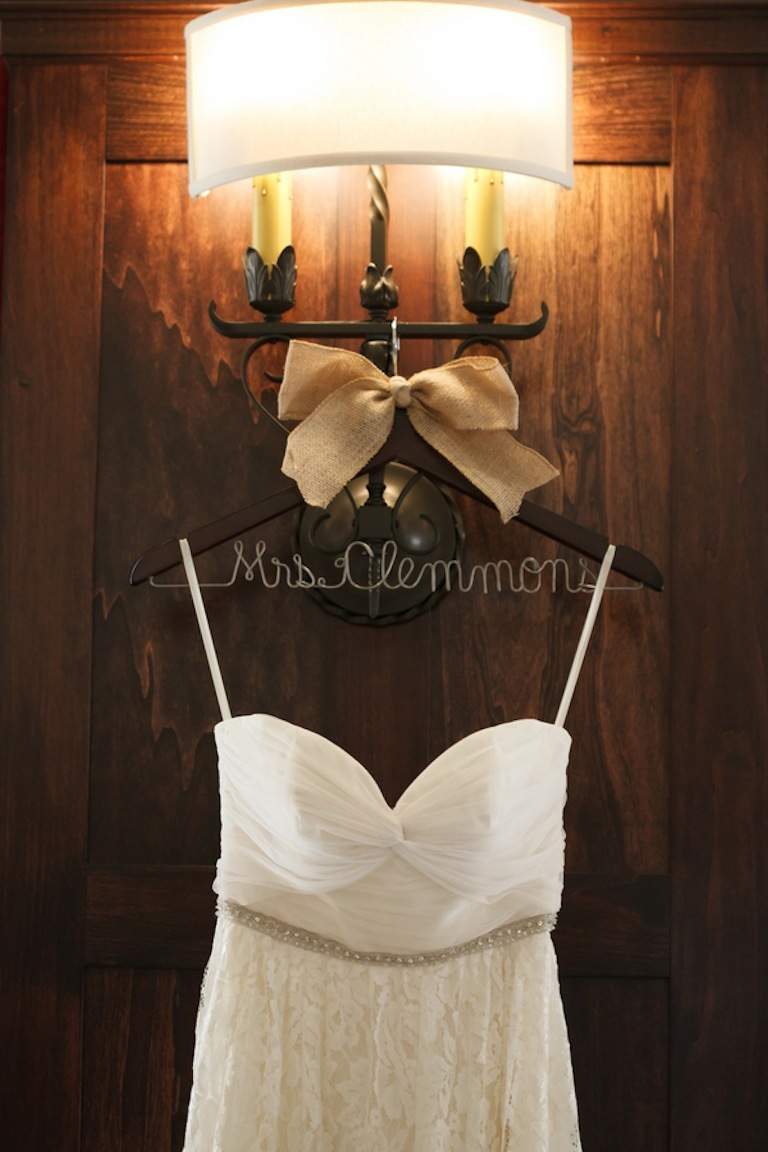 Rustic Wedding Dress from the White Magnolia with Bride Hanger