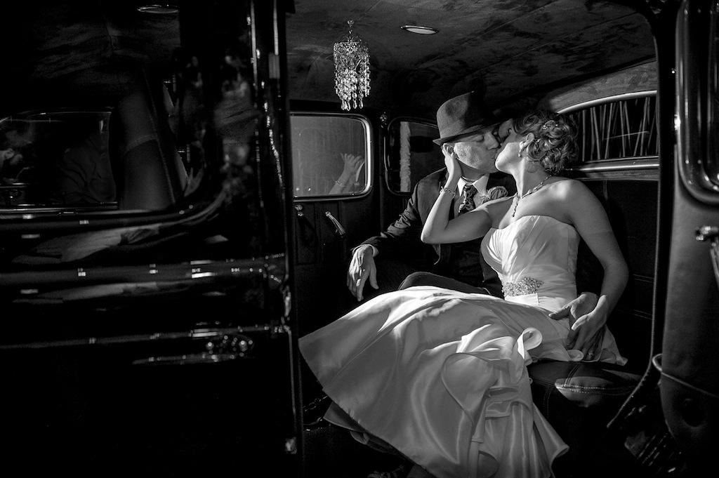 Vintage Bride and Groom Exit
