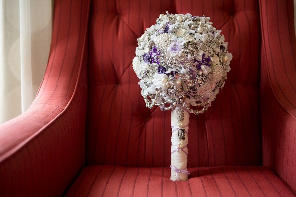 Purple, Vintage Jeweled Brooch Wedding Bouquet