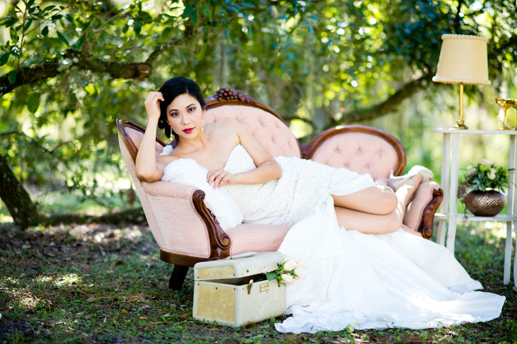 Asian Bride on Vintage Couch by Tufted Vintage Rentals   Vintage, Garden Wedding Styled Shoot