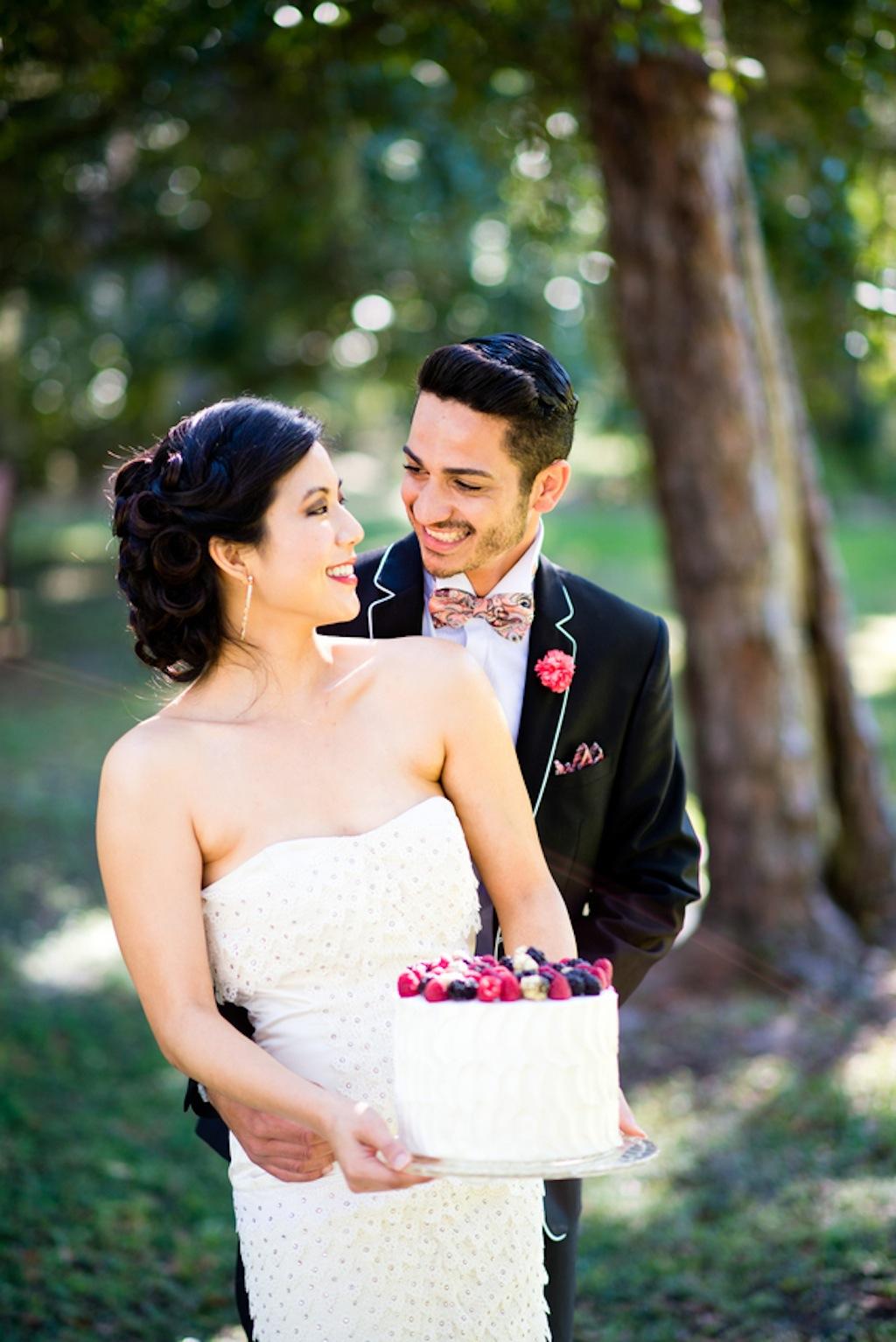White Berry Wedding Cake   Vintage, Garden Wedding Styled Shoot by Kera Photography