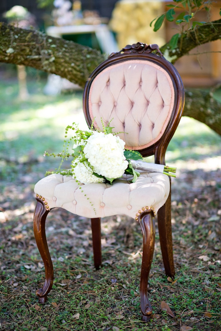 Tufted Vintage Chair Rental with White Wedding Bouquet | Vintage, Garden Wedding Styled Shoot