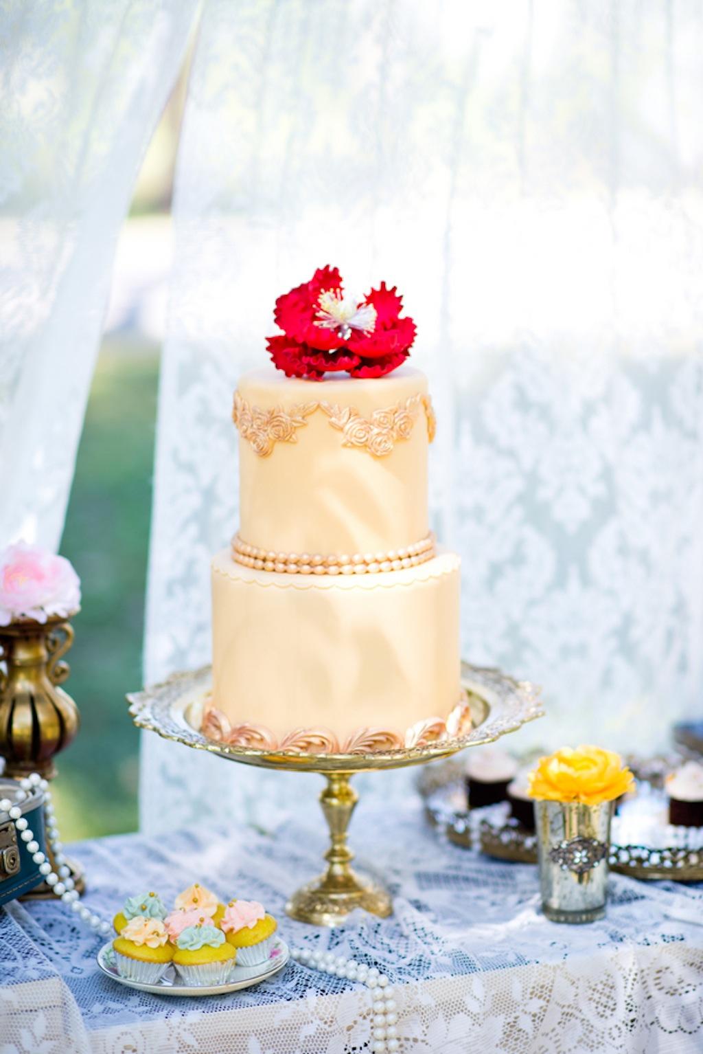 Two-Tier Gold, Vintage Wedding Cake   Vintage, Garden Wedding Styled Shoot