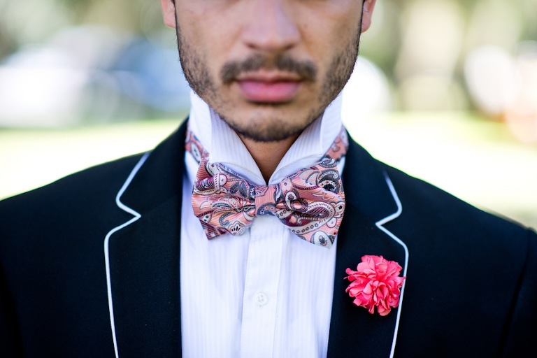 Piped Groomsmen Suit with Hot Pink Boutinnaire | Vintage, Garden Wedding Styled Shoot by Kera Photography