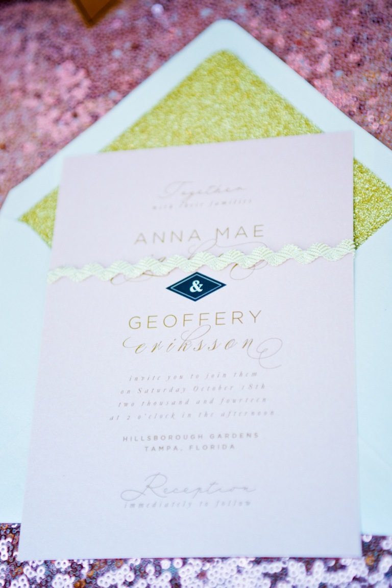 Pink and Gold Vintage Wedding Invitations by Citrus Press Co. | Vintage, Garden Wedding Styled Shoot