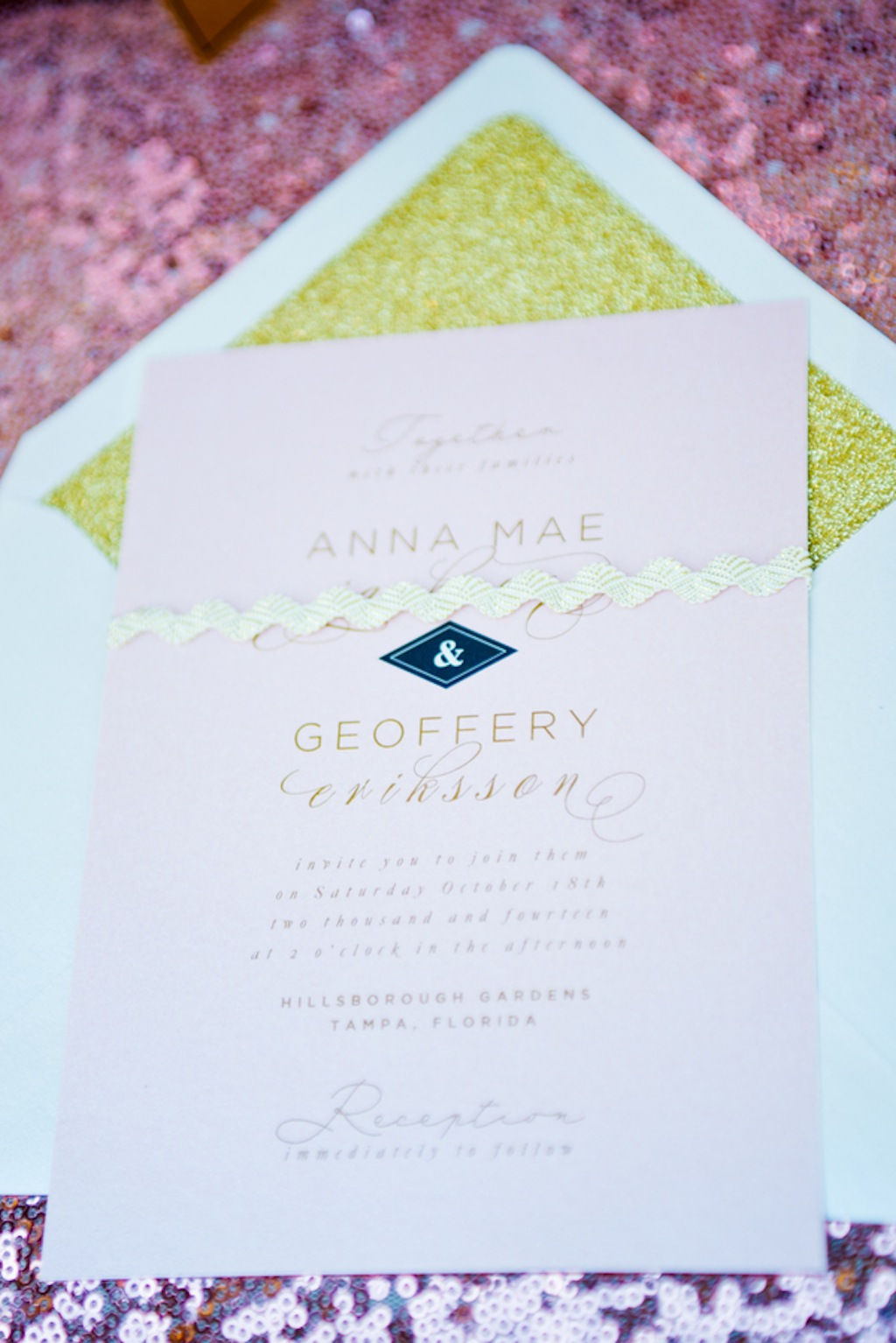 Pink and Gold Vintage Wedding Invitations by Citrus Press Co.   Vintage, Garden Wedding Styled Shoot