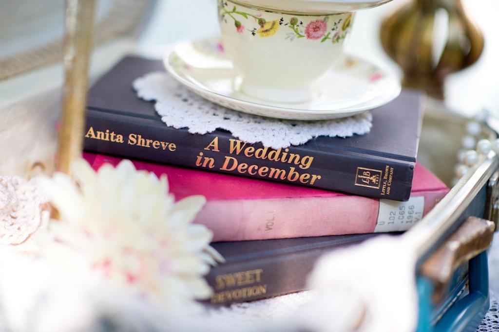 Vintage Love Books Wedding Centerpieces   Vintage, Garden Wedding Styled Shoot