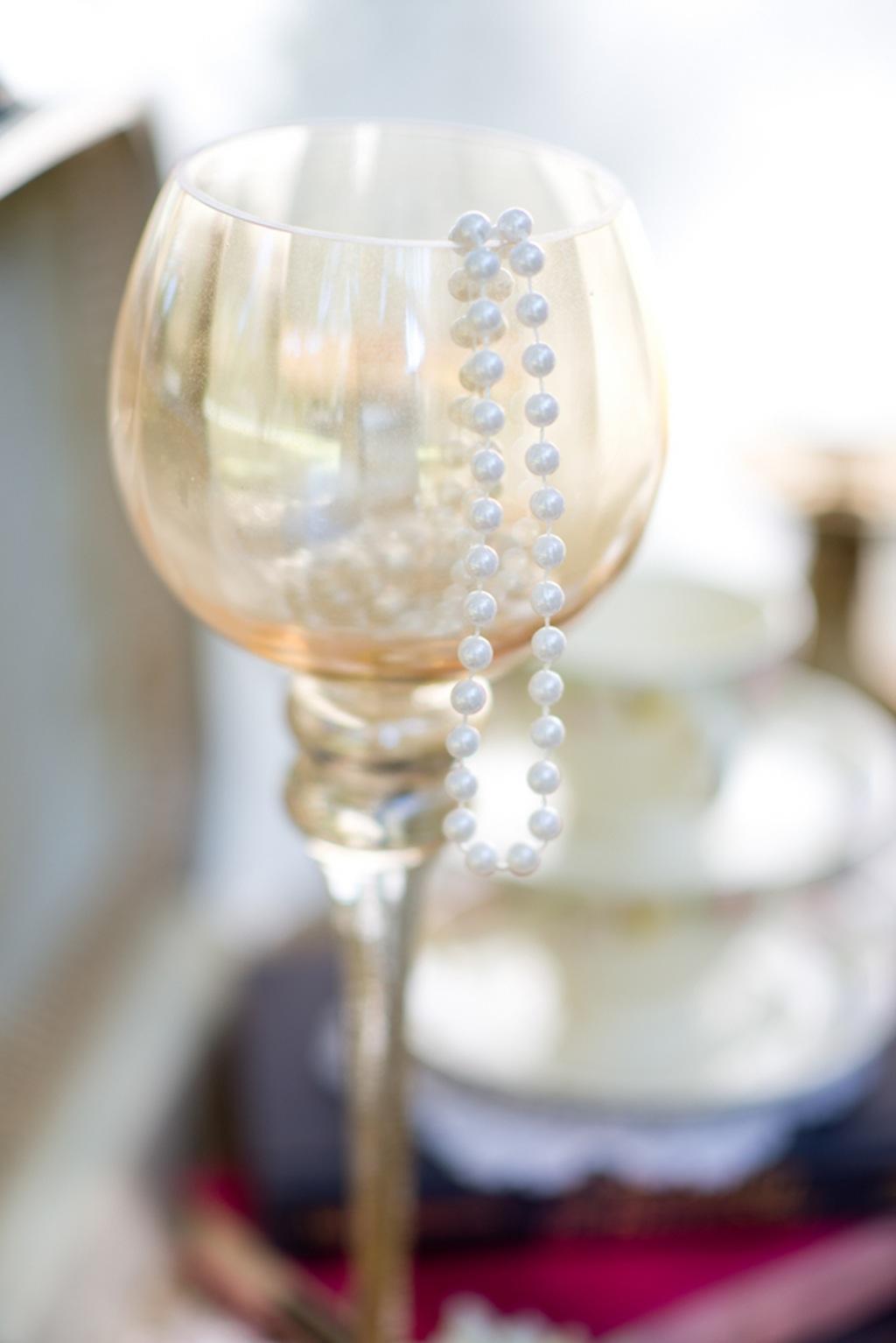Wine Glass and Pearls Wedding Decor   Vintage, Garden Wedding Styled Shoot