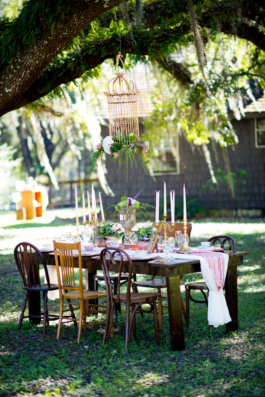 Vintage Wooden Table and Mis-matched China   Vintage, Garden Wedding Styled Shoot