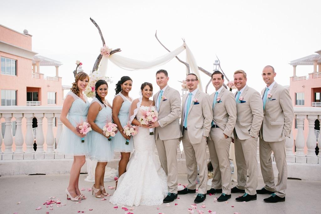 Light Blue Bridesmaid Dresses And Tan Groomsmen Suits Beach