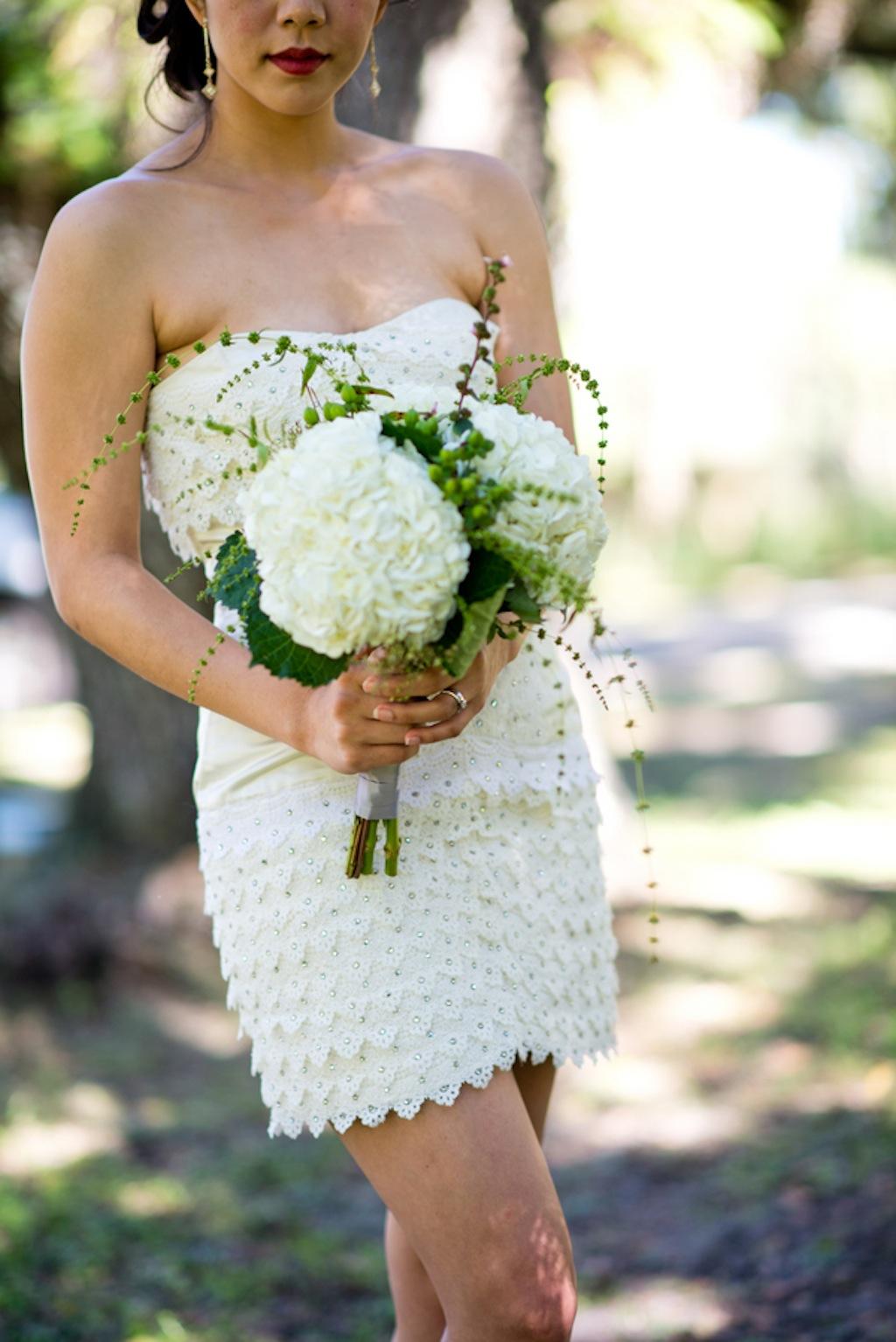 White Wedding Bouquet with Short White Wedding Dress   Vintage, Garden Wedding Styled Shoot