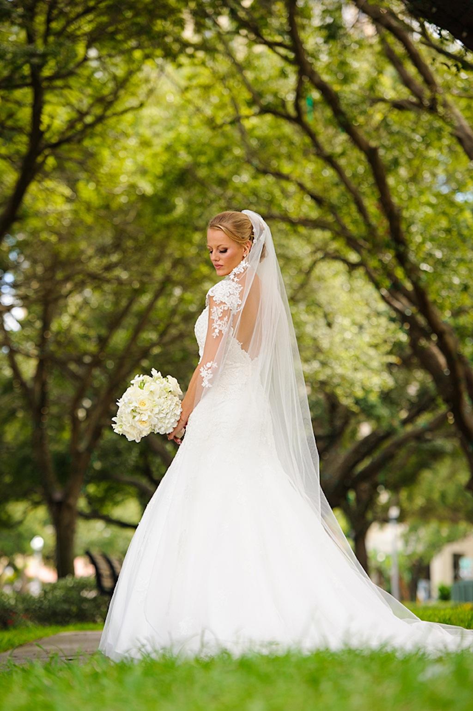 St. Pete Bride with White Wedding Bouquet