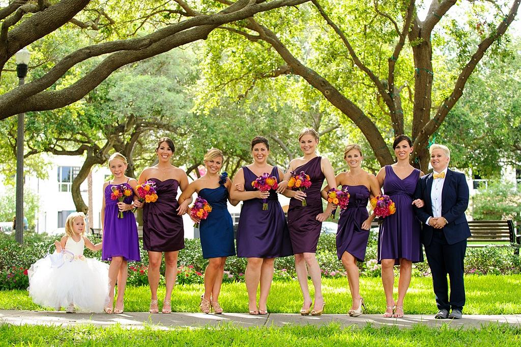 Purple Bridesmaid Dress with Purple and Orange Wedding Bouquet