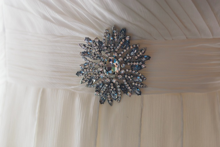 Beach Wedding Dress Jeweled Brooch