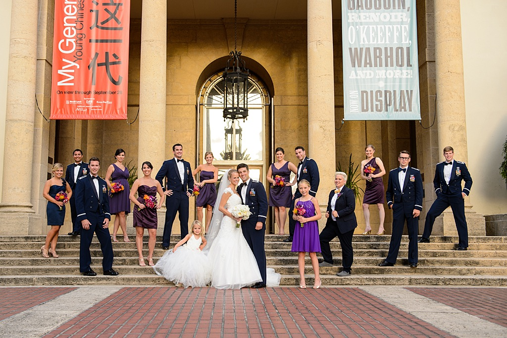 St. Pete Museum of Art Military Wedding Bridal Party