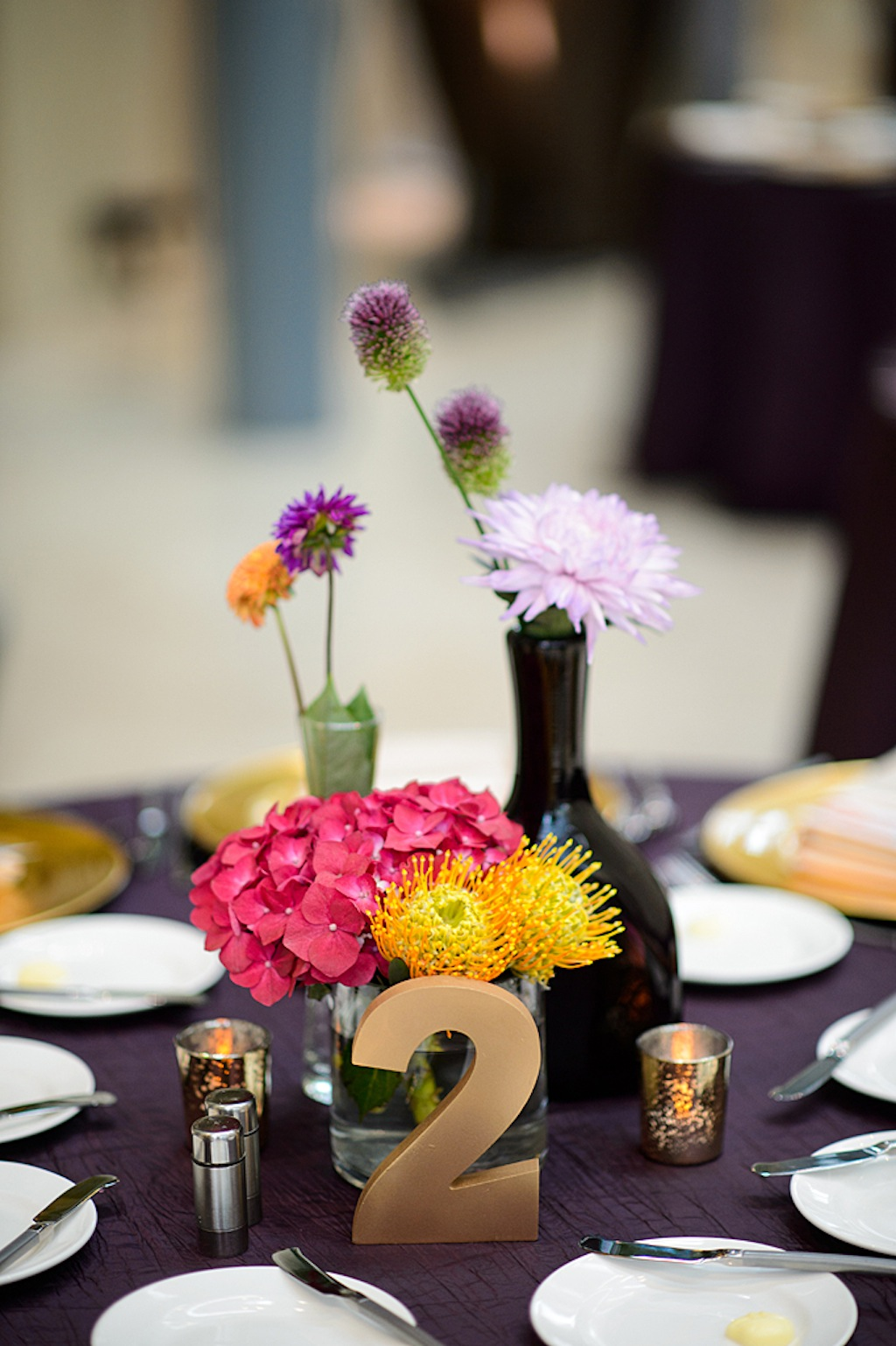 Pink, Purple and Yellow Wedding Centerpieces