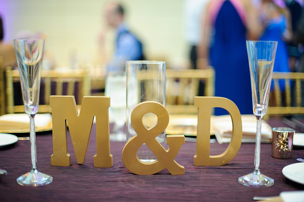 Gold Bride and Groom Initials