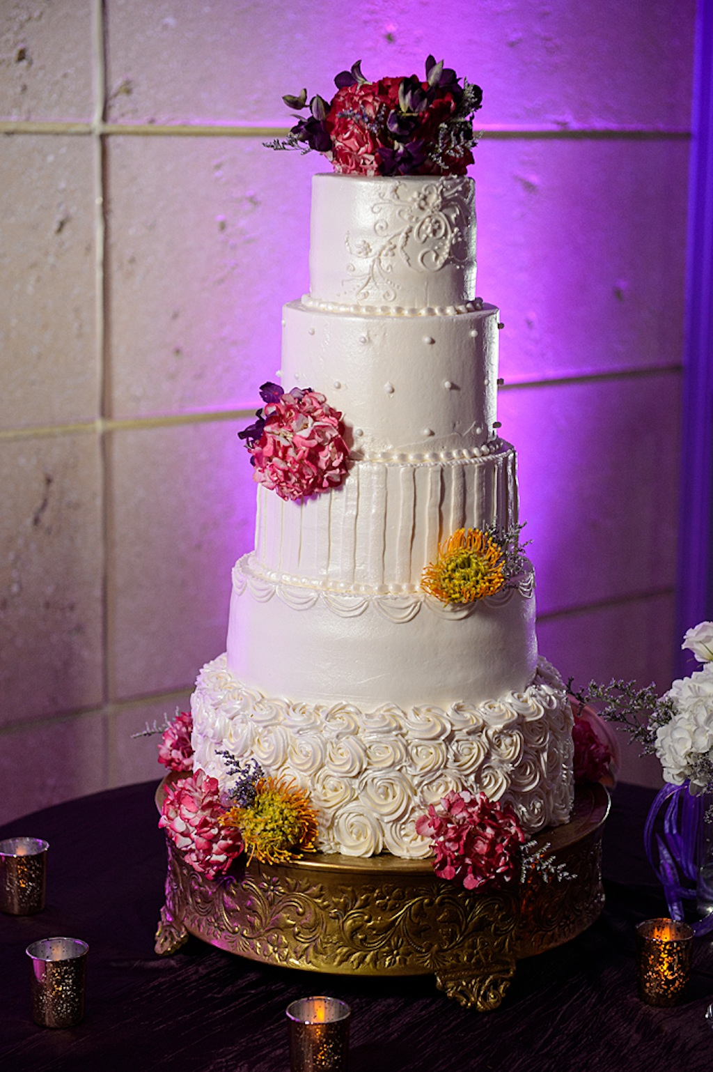 5-Tier White Round Traditional Wedding Cake with Pink Flowers