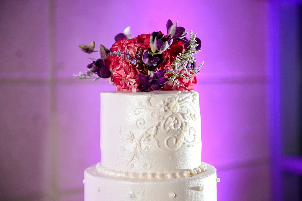 5-Tier White Round Traditional Wedding Cake with Pink and Purple Flowers