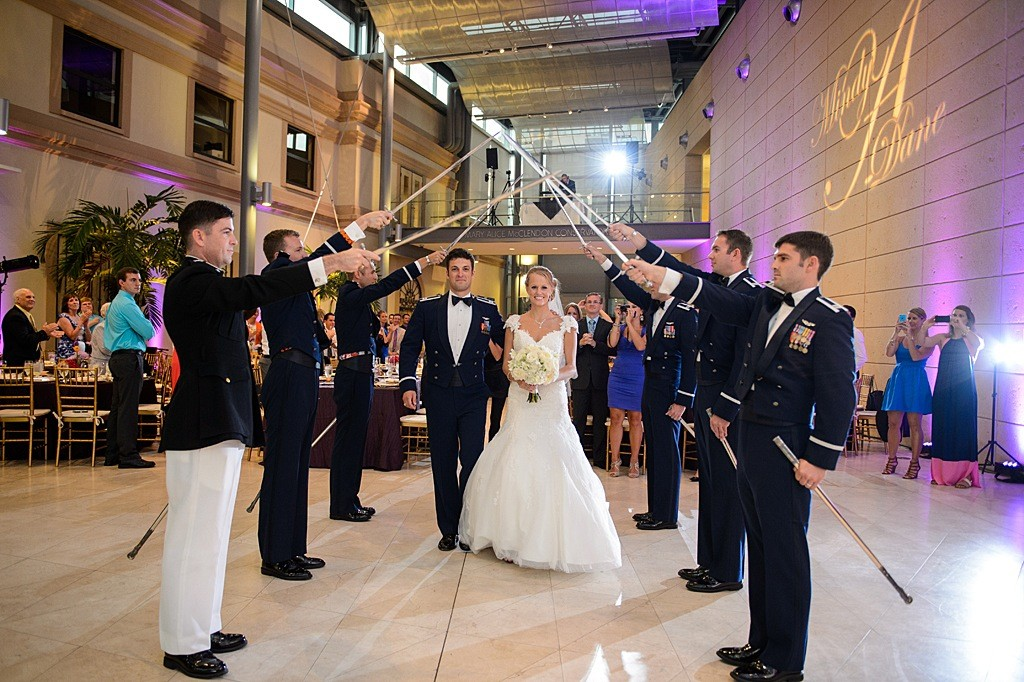 St. Pete Bride and Groom with Military Saber Sword Entrance